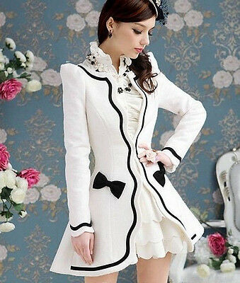 Hot sell Women's Korean White Petal Inlay Bow Slim Sweet Wool Blend Jacket Coat