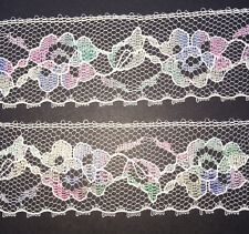12Yds Wonderfully Pretty Vintage Pastel Flower Lace Trim 3.5cm