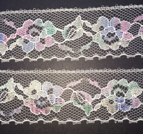12yds wonderfully Pretty Vintage Pastel Flower Lace Trim 3.5 cm