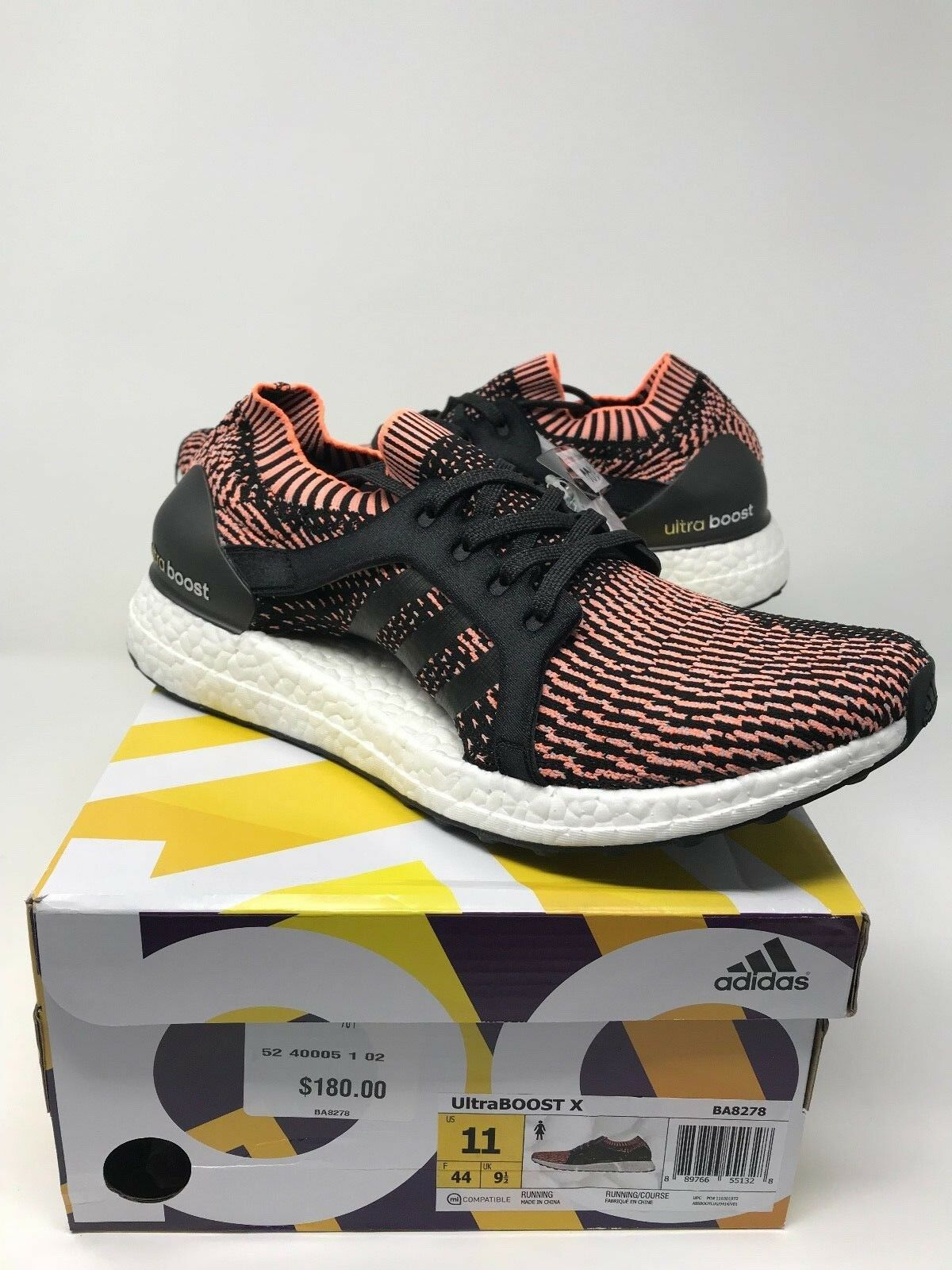 0abc0959a9e NEW Adidas Women X Ultra Boost Primeknit Sneakers Black Orange BA8278 Size  11