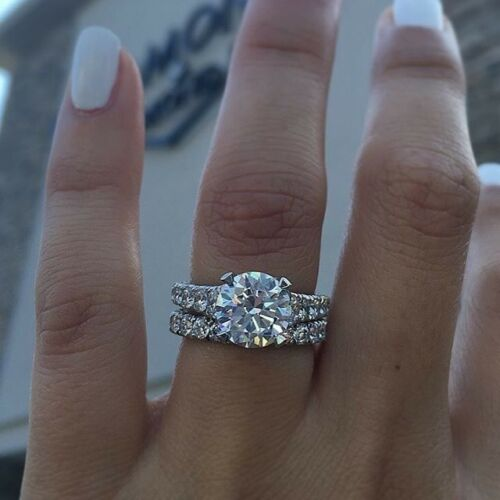 3.00ct Round Cut Diamond Engagement Wedding Bridal 925 sterling silver ring set