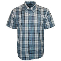 MENS DESIGNER BRANDED BLUE KAM JEANS 6101 SHORT SLEEVED CHECKED SHIRT SIZE S-XL