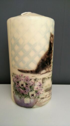 Hand Decorated cat Pillar Candle15x7cm decoupage floral cat candle