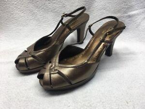 Liz-Claiborne-Flex-Fling-Leather-Bronze-Heels-Women-s-Size-7-M