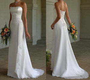 Vestido De Novia Vestido De Novia Barato País De Playa Blanco Marfil De Encaje Arriba De Nuevo En Stock Ebay