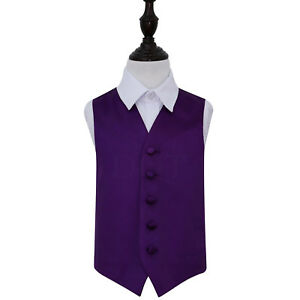 DQT-Satin-Plain-Solid-Purple-Page-Boys-Wedding-Waistcoat-2-14-Years