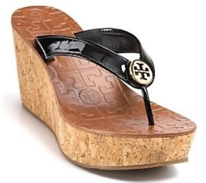 73c5b798f59e9 Tory Burch  Thora  Black Patent Cork Wedge Logo Sandal SZ 10.5 M