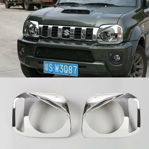 2*Chrome ABS Front Headlight Lamp Cover Trim Bezels For Suzuki Jimny 2007-2017