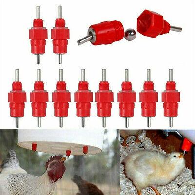 6x 10x Nipple Drinker Chicken Water Feeder Poultry Duck Hen Screw In 360 Degree