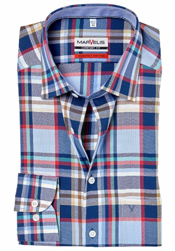 Red Mix Bold Check Oxford Spread Collar