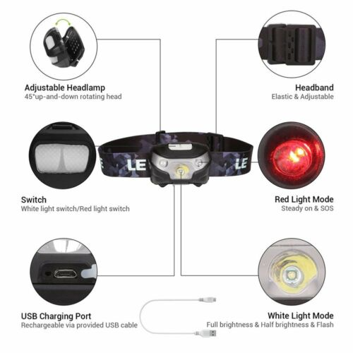 Head Torch Headlamp LED Rechargeable USB CREE Running Headlight Camping Fishing