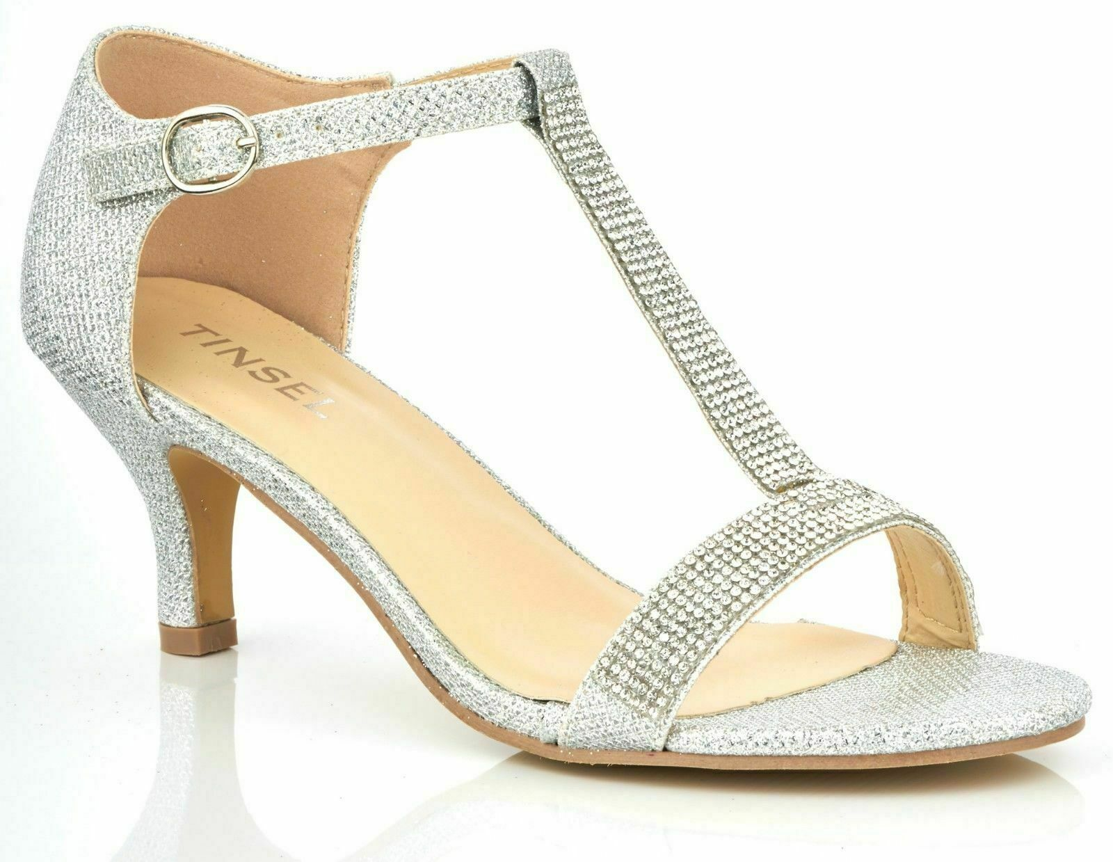 WOMENS SILVER DIAMANTE DETAIL LOW HEEL PEEP TOE STRAPPY T-BAR SHOES SANDALS 3-8