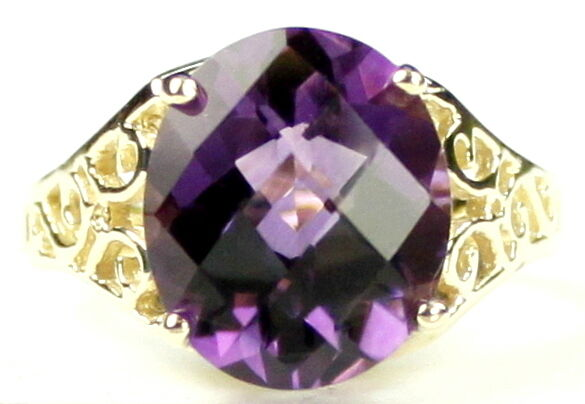 Amethyst, Solid 10KY or 14KY gold Ladies Ring, R057-Handmade