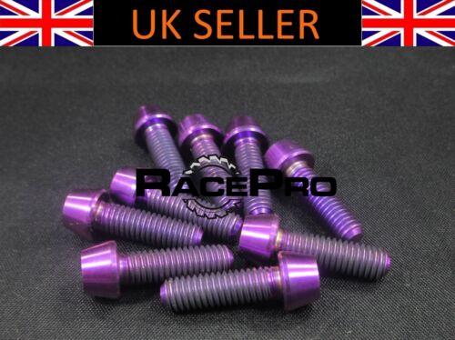 M5 x 18mm x .8mm 8x Titanium Tapered Bolt GR5 RacePro Purple Allen Head