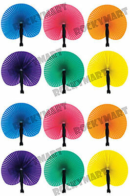 "Folding Paper Fans (12 Pk) Assorted Colors Japanese/Asian Style Fan 10.5"" RM1379"