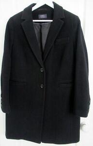 Black-italian-wool-cashmere-blend-single-breasted-lined-jacket-coat-UK-14-M-amp-S