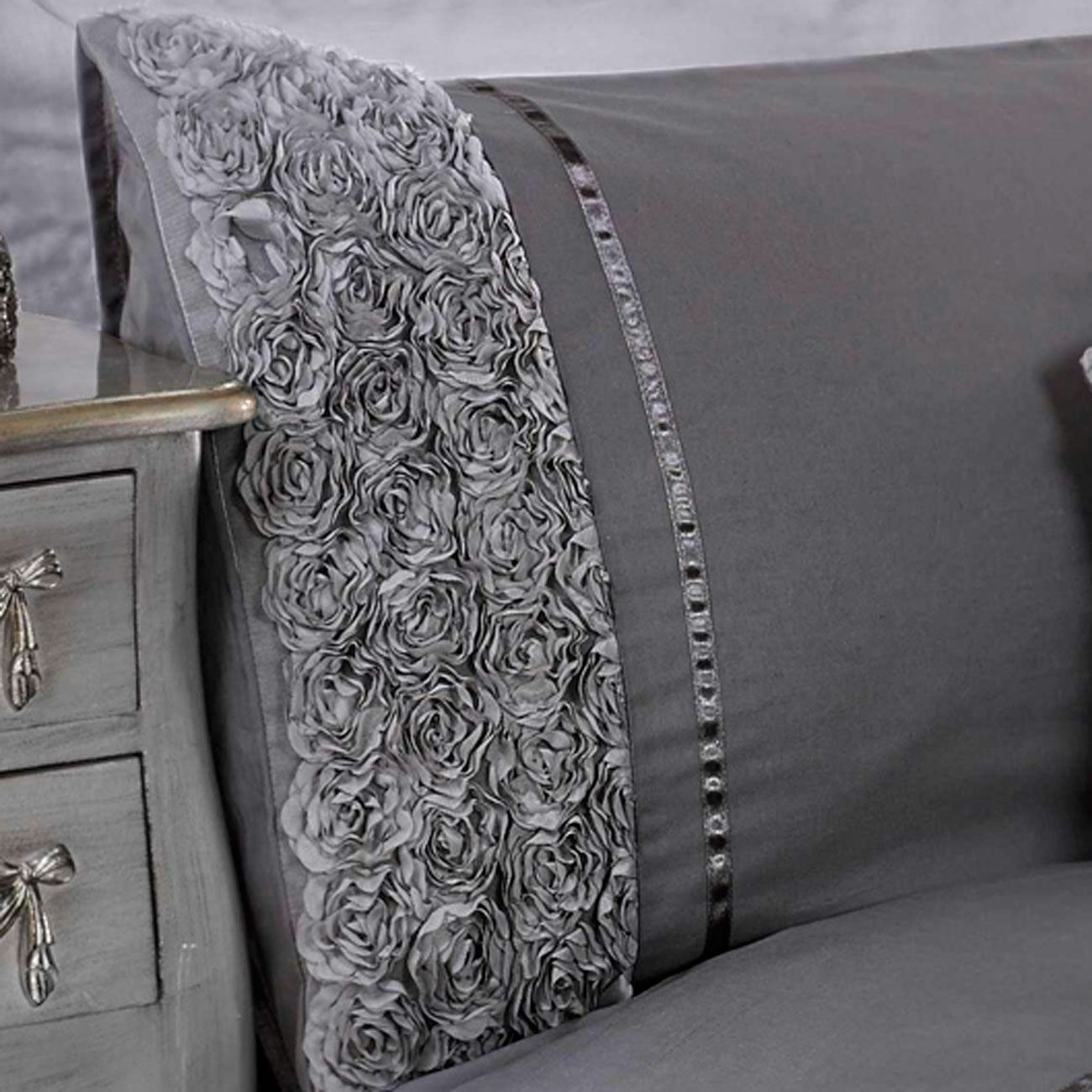 LIMOGES pink RUFFLE KING SIZE DUVET COVER SET LUXURY BEDDING GREY