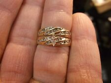 BEAUTIFUL 10K GOLD & DIAMOND ENGAGEMENT WEDDING RING SET, MARQUISE SOLITAIRE++++