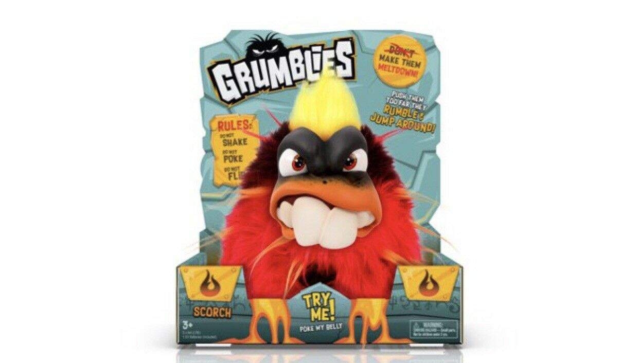 NEW Grumblies Scorch Plush Interactive SHORT TEMPEROT MISCHEVIOUS GIFT PLAY TOY