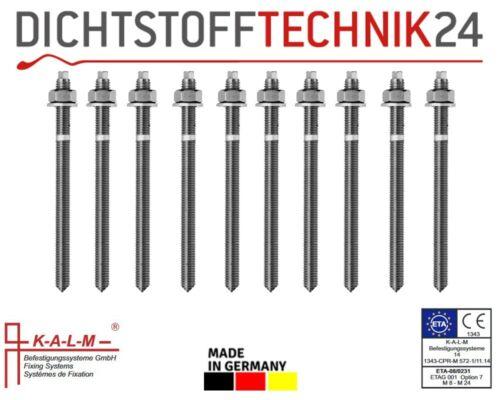 10x Kalm Ankerstangen ASK Stahl verzinkt M8 x 110 für Verbundankerpatrone VPK-SF