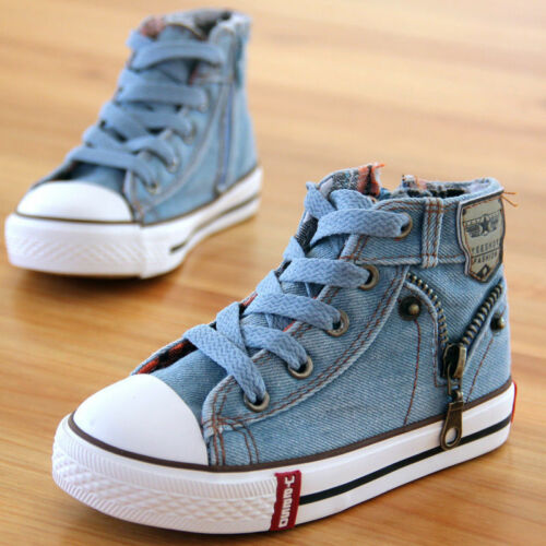 Children Kids Boys Girls Canvas Shoes High Top Casual Sneakers Size Sports Run
