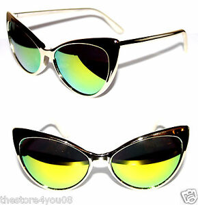 Womens Cat Eye 50s Vintage Sunglasses Gold Thin Frame ...