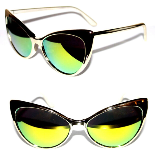 Cat Eye 50's Vintage Sunglasses Gold Thin Frame Green Mirrror Lens Cateye Pinup