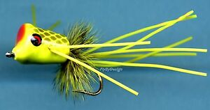 Chartreuse-with-Black-Fish-Scales-Bass-Bream-Popper-Choose-Quantity-amp-Hook-Size