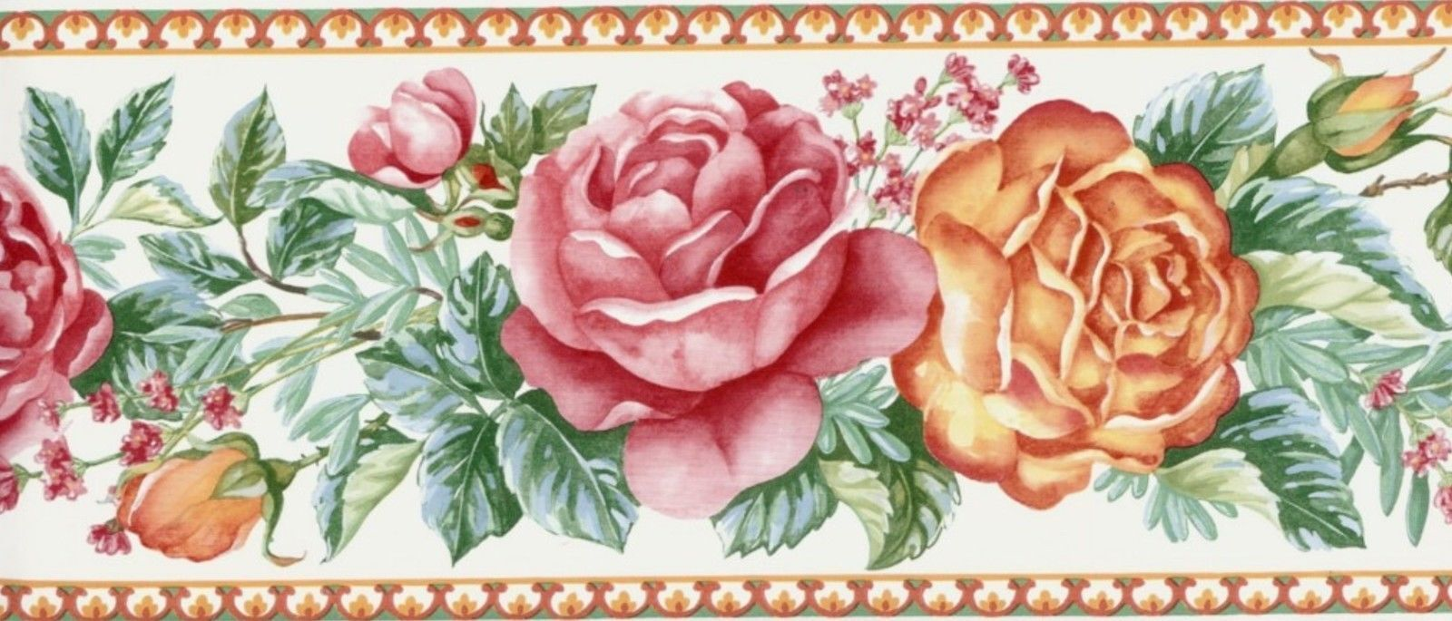 Wallpaper Border Country Floral Red Orange Green For Sale Online