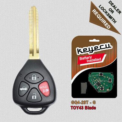 Keyecu Upgraded Folding Remote Key Fob for Toyota Venza Matrix 2009-2016 GQ4-29T with G Chip