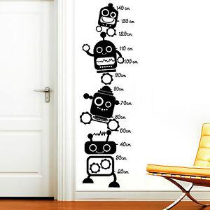Details zu 11211 Wandtattoo Messlatte Roboter Kinderzimmer Jungs wachsen  Größe messen