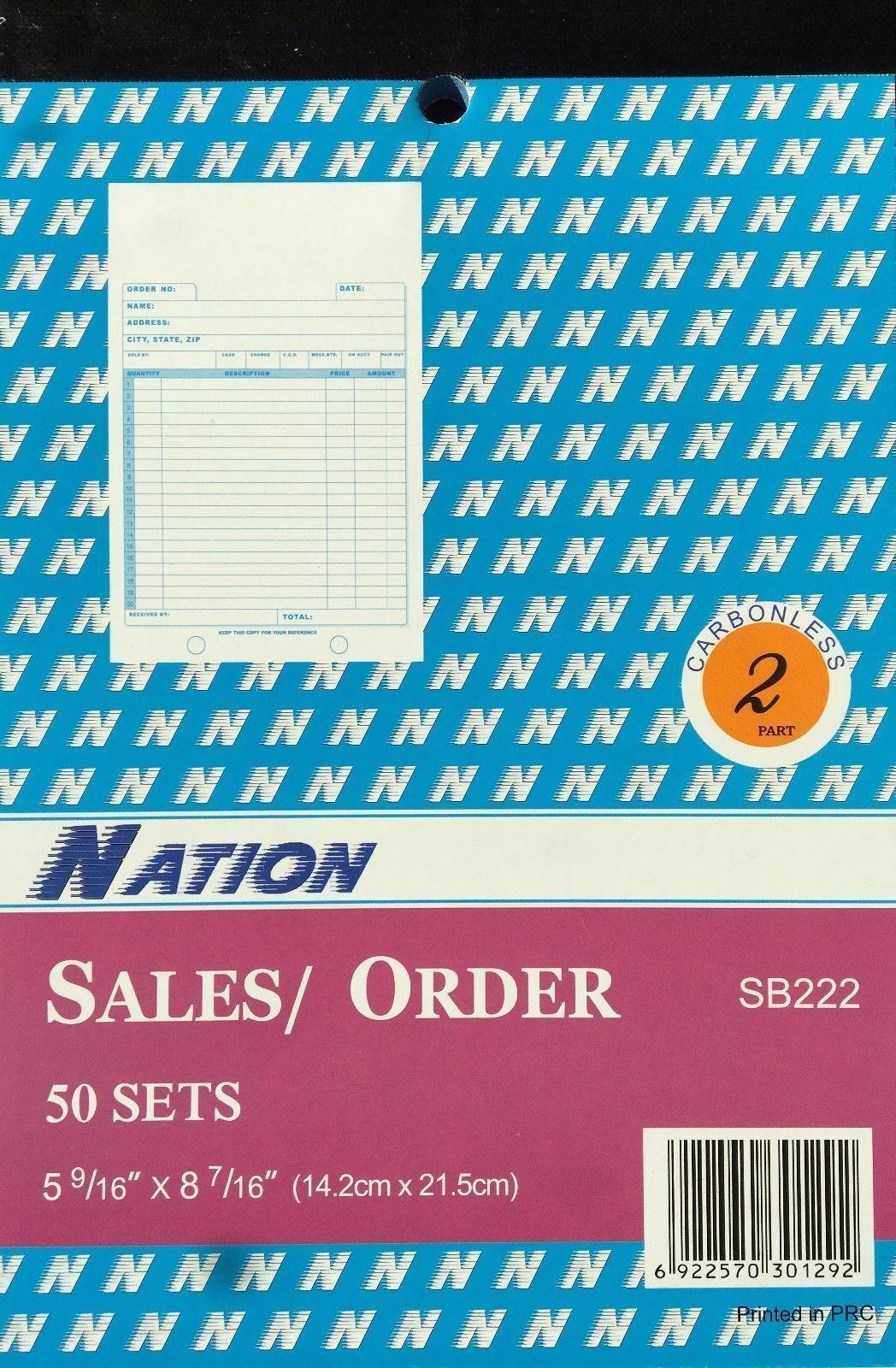 Sales Invoice Order Books Carbon less 50 Sets 2Parts 5 9 16  x 8 7 16  100 Books