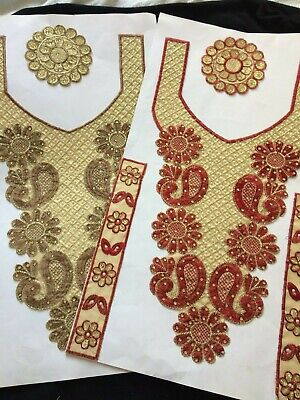 3 Piece Neckline Gala Silver Bead Crystal Neck Collar Appliqué Patch Sew On