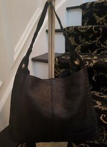 ff2596be79e26 Details about Lucky Brand whip stitch black pebbled leather hobo tote with  braided handle