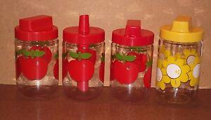 4-bocaux-pots-HENKEL-vintage-pommes-rouges-fleurs-jaunes-pub-pots-cuisine-epices