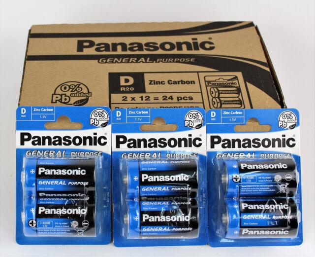 12 x Panasonic Batterien LR20 1,5 Volt R20 MONO Zellen D NEU