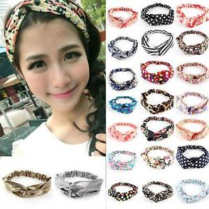 Womens Girl Lovely Elastic Floral Hair Band Headband Turban Twisted Knotted