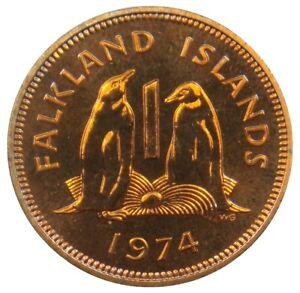 P53-Falkland-Iles-1-Penny-1974-Eselspinguine-Penguins-Proof-km-2