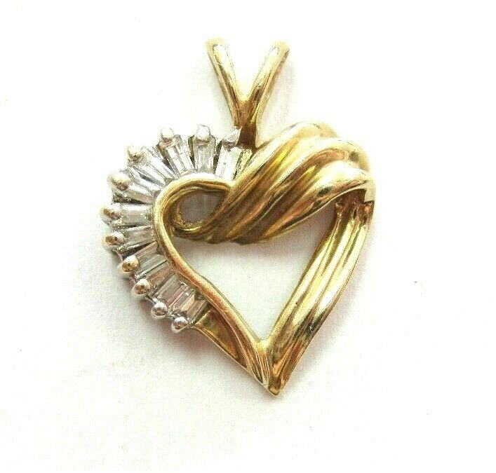 Gorgeous 14k Yellow gold Open HEART baguette real Diamond Pendant Charm 0.40 ctw