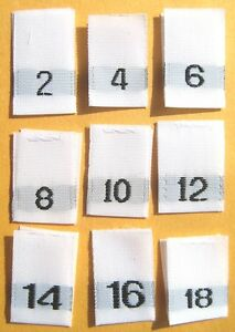 SIZE TAGS 2T 3T 4T 250 PCS WHITE WOVEN FOLDED SEWING CLOTHING LABELS