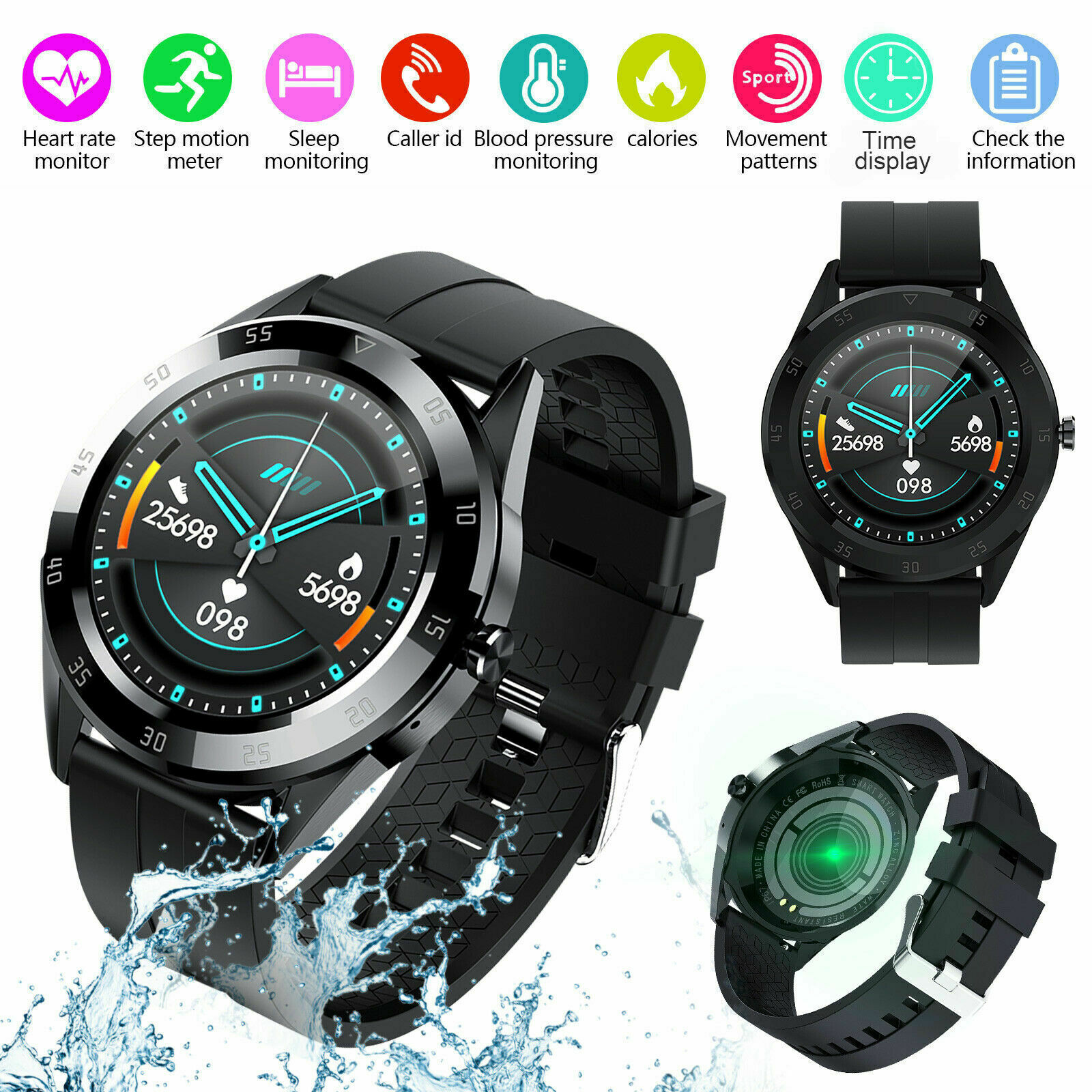 Waterproof Touch Smart Watch Women Men Heart Rate Bracelet For iPhone Android