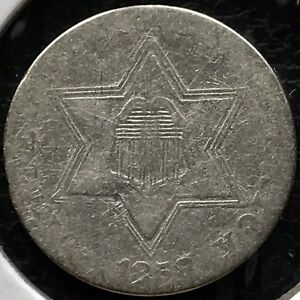 1858-Three-Cent-Piece-Silver-Trime-3c-Better-Date-Rare-11690