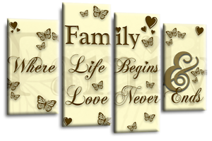 Family Love Quote Art Picture Cream Brown Grey Canvas Wall Home 4 Panel Split
