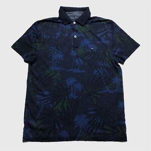 Mens-Tommy-Hilfiger-Polo-Shirt-Small-Blue-Floral-Short-Sleeve