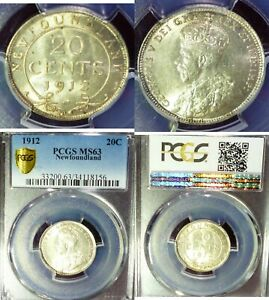 1912-CANADA-Newfoundland-20-Cents-PCGS-MS63-KING-GEORGE-SILVER-COIN-KM-15