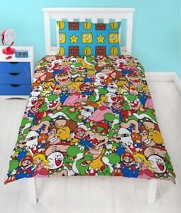 Nintendo Super Mario Gang Einzelbett Bettwäsche Wende Kinder Jungen