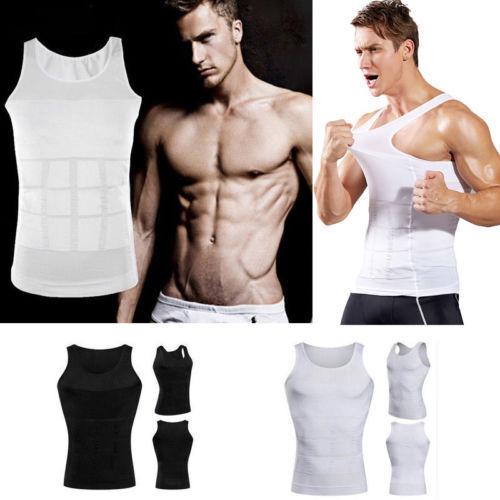 Men/'s Waist Cincher Undershirt Vests Body Shaper Tshirt Muscle Trainer Tank Top