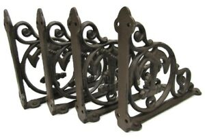 Architectural & Garden Antiques Set of 4 Cast Iron Shelf Brackets New Antique-Style Rustic Dragonfly 9 x 6.5