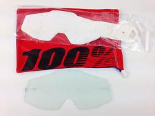 100% PERCENT MOTOCROSS GOGGLE GENUINE CLEAR LENS + GENUINE TEAR OFFS 20 PK