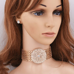 Fashion-Women-Gold-Silver-Plated-Round-Rhinestone-Necklace-Earring-Jewelry-Sets